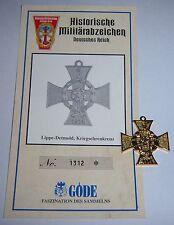 Göde - LippeDetmold, War Honour Cross. 1914 + Cert. Replica