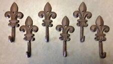 SET of 6 FLEUR DE LIS HOOKS rustic brown cast iron hooks for bathroom kitchen