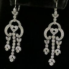 DD designer 14K WG 1.5CT diamond cluster heart floral chandelier dangle earrings
