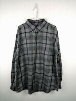 Vintage Mens Flannel Shirt Croft & Barrow Size XL Grey Check 100% Cotton Button