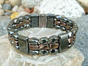 100% Magnetic Hematite Black n Copper Bracelet Anklet Necklace 3 Row Mens Womans