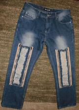 Men's Imperious Rip W/ Zipper Patched Jeans Vintage Blue, 34 x 32