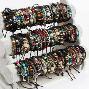 Wholesale Lots 50pcs Mixed lots Genuine Leather Bracelet Cuff Punk Tribal Ethnic
