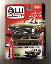 AUTO WORLD 1964 FORD COUNTRY SQUIRE MUSCLE WAGONS RUBBER TIRES GREEN FREE SHIP.