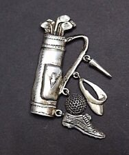 Sterling Silver Golf Bag Pin Broach with Charms