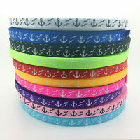 "5Yards 3/8""(10mm) Printing Anchor Grosgrain Ribbon Hair Bow DIY Sewing #31-40"