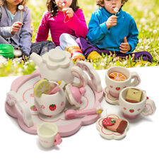 Wooden Kids Tea Set Role Play Kitchen Toys Pretend Cups Teapot Tray