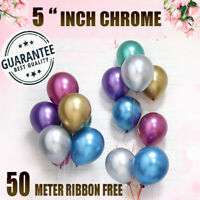 "50 / 100 x CHROME BALLOONS METALLIC LATEX PEARL 5"" Helium Baloon Birthday Party"