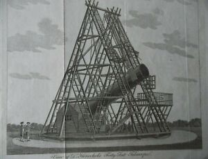 View of Dr Herschel's Forty Feet Telescope at Slough. Original C18th Etching