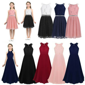 Flower Girls Princess Dress Kids Bridesmaid Wedding Party Lace Long Prom Gown