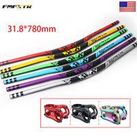 31.8*780mm Extra Long Handlebar MTB/XC/DH Bike Aluminum 50mm Stem Riser Bar Sets