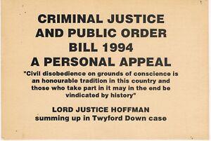 CRIMINAL JUSTICE & PUBLIC DISORDER ACT BILL 1994 Flyer A6 Original