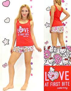 NWT Sanrio Hello Kitty 'LOVE at First Bite' shorts and top Pajamas M,L