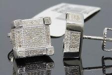 .50 CARAT MENS/WOMENS 10mm 100% GENUINE DIAMONDS WHITE GOLD FINISH EARRING STUDS