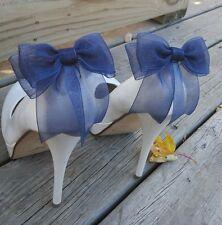 Navy Blue Shoe Clips, Bows, Shoe Clips For Bridal Shoes Wedding Pumps, Bridal