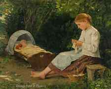 Woman Child Cradle Girl Knitting Art - Watching Baby by A. Anker 8x10 Print 0397