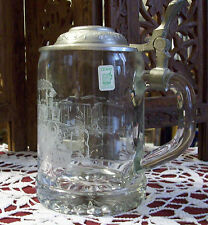 ALWE ETCHED TRAIN GLASS BEER STEIN/TANKARD WITH LID ~ FREE SHIPPING