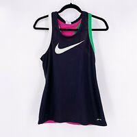 Nike Women's Double Layer Mesh Tank Top Racerback Size Small Black Pink White