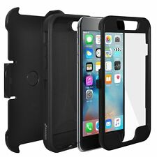 AMZER Black Full Body Hybrid Credit Card Case Clip Holster For iPhone 6+ 6S Plus