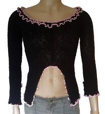 Zone Bleue Womens Knit Crop Top SZ Small M Pink Black Boho Sweater Lagenlook