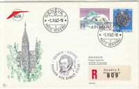 Switzerland 1962 AUA Slogan Geneva Cancels Registered Two Stamps Cover ref 22768