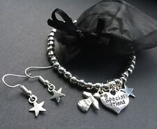 Special Friend Beaded Bracelet With Love Hearts Angel And Lucky Star Earrings
