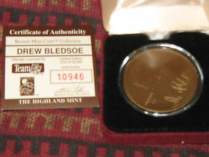 highland mint bronzemint-coin drew bledsoe And 93 Playoff Rookie Card
