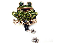Rhinestone retractable ID badge holder reel - Green Frog