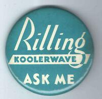 1940s Rilling KOOLERWAVE pin SALESMAN badge HAIR PERMANENT Beauty SALON Parlor