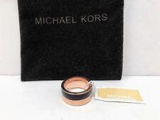 Michael Kors Rose Gold & Black Colorblock Band Ring w/ MK Dust Bag, Sz 6 NWT