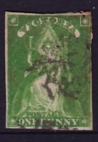 VICTORIA SCARCE 1856 1d Yellow Green QV QUEEN THRONE FOUR MARGIN SG 40 (LC36C)
