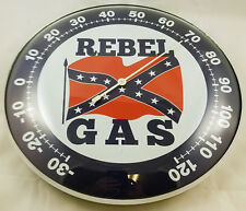 REBEL GAS STATION GASOLINE BRAND RED WHITE BLUE ROUND DOME SHAPE THERMOMETER