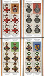 """4 KB. = 5 FULL SET + 1 Vignettes/ ROMANIA 2020 """"ROMANIAN ORDERS AND MEDALS"""" MNH"""