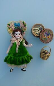 "Beautiful 3 1/2 "" (9 cm) Antique Miniature Mignonette All Bisque Doll Boxed"