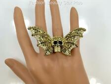 Crystal Skull Wings Ring - Gold or Silver