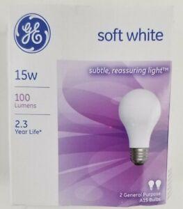 GE Lighting 15 Watt A15 Soft White Standard Incandescent Light Bulb 2 Pack 97491