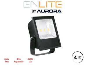 Enlite 200w Watt LED 6500K Security Outdoor Floodlight Black IP65 Safe Aurora