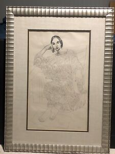 Alfredo Zalce Original Pen and Ink drawing modernist woman signed Dated 1969