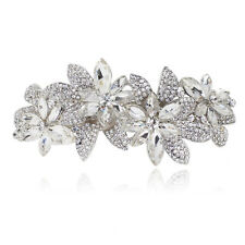 B39 Holy White Clear Crystal Rhinestone Flower Barrette Hair Clip Bridal Party