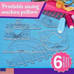 Quilting Ruler Set of 3 Feather Template for Domestic Machine Blue, 1//4