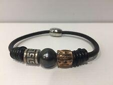 Pulsera Cuero Negra Perla color Gris + Abalorios Plata - Pearl Silver Bracelet