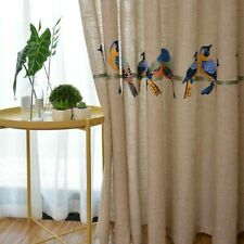 Cotton Linen Curtains Tulle Embroidered Bird Blackout Sheer Window Treatment New