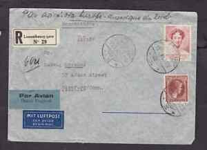 Luxembourg 1940 registered airmail cover to the USA