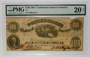 1861 $100 Confederate States Banknote PMG VF20 Net **Very Scarce T-7 Issue**