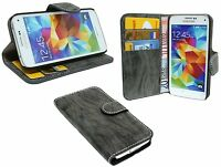 Samsung Galaxy S5 Mini G800F // Tasche Hülle Cover Case Etui ANTHRAZIT + Folie