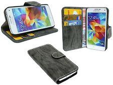 BOOK-Style Zubehör Hülle Samsung Galaxy S5 Mini G800F // Anthrazit + SCHUTZFOLIE