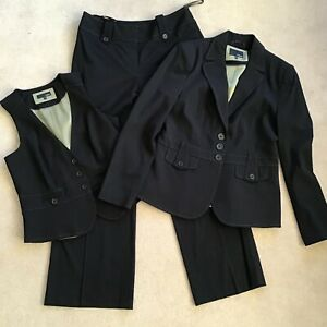 NEXT beautiful black 3 piece jacket waistcoat & trouser suit UK 14