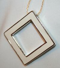 Handsome Reversible Black Cream Silvertone Square Pendant Necklace  ++++