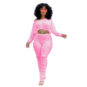 New Women Fashion Long Sleeves Drawstring Pleated Patchwork Solid Club Pants Set