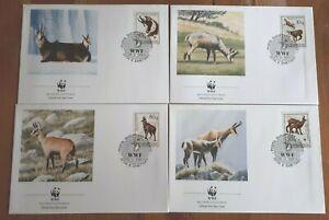 Albania 1990 Set Of 4 Stamp FDC's - WWF Rupicapra - MINT